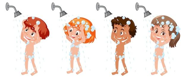 Set di diversi personaggi dei cartoni animati per bambini fanno la doccia
