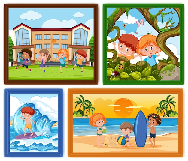 Set di diverse cornici per foto per bambini