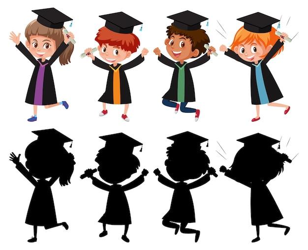 Set di bambini diversi che indossano un abito da laurea con silhouette