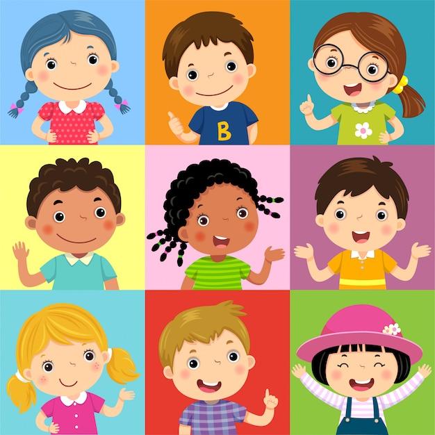 Set di bambini diversi con varie posture