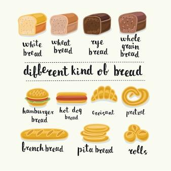 Set di diversi tipi di pane
