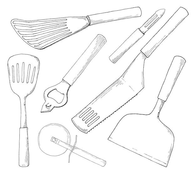 Set di diversi accessori da cucina. illustrazione nello stile di abbozzo