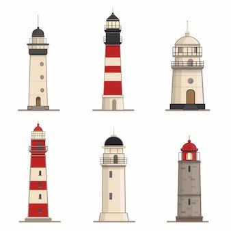 Set di diversi fari su sfondo bianco
