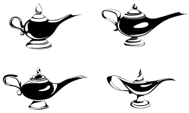 Set di diverse lampade magiche. oggetti antichi in stile monocromatico.