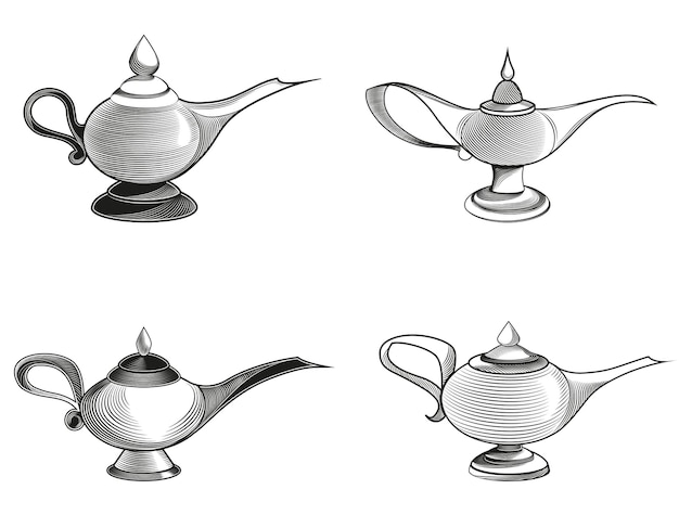 Set di diverse lampade magiche isolate su bianco