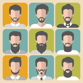 Set di icone di app uomo diverso con barba e baffi in stile piatto.