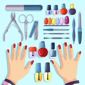 Set di diversi strumenti per manicure