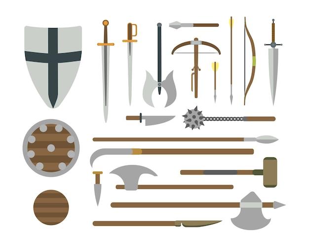 Set di diverse illustrazioni piatte di armi medievali.