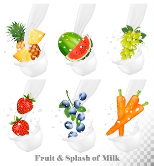 Set di diversi spruzzi di latte con frutta, noci e bacche. anguria, uva, carota, fragola, mirtillo, ananas. insieme di vettore.