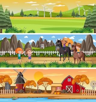 Set di paesaggi naturali diversi nella scena diurna con personaggio dei cartoni animati