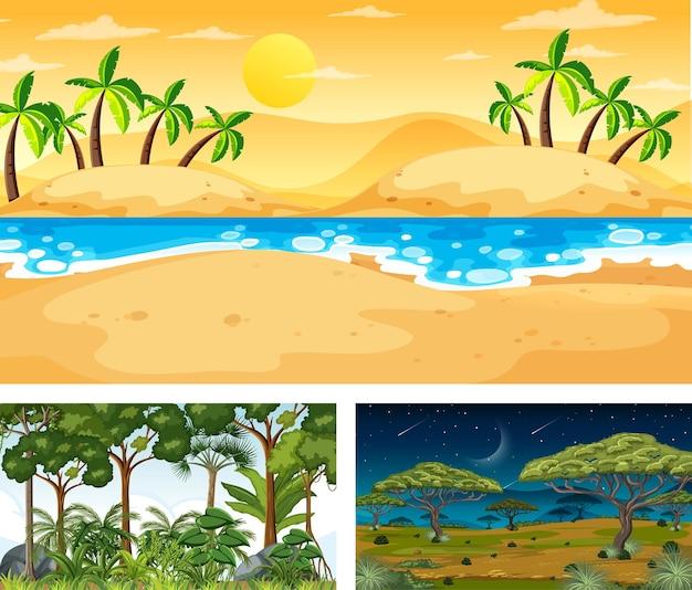 Set di diverse scene di paesaggi naturali
