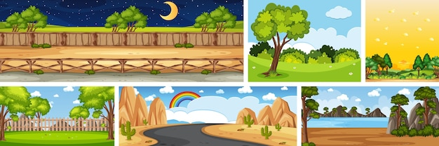 Set di scene di natura diversa nelle scene verticali e all'orizzonte durante il giorno e la notte