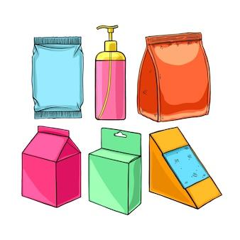 Set di imballaggi diversi. illustrazione disegnata a mano