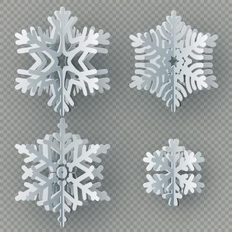Set di diversi fiocchi di neve di carta tagliati da carta isolato su sfondo trasparente. buon natale, oggetto decorazione tema inverno nuovo anno.
