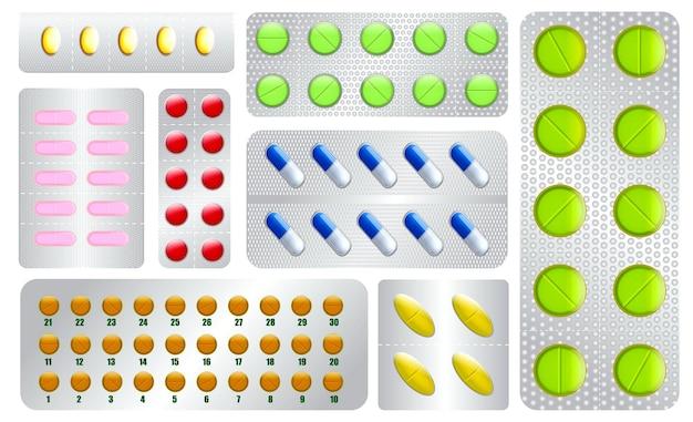 Set di pillole diverse compresse medicinali o pillole realistiche vitamine capsule farmaceutiche