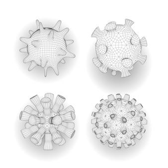 Insieme di diverse cellule virali poligonali. coronavirus. stile di maglia poligonale contorno lineare. illustrazione medica 3d di virus, batteri, microbo isolata su fondo bianco.