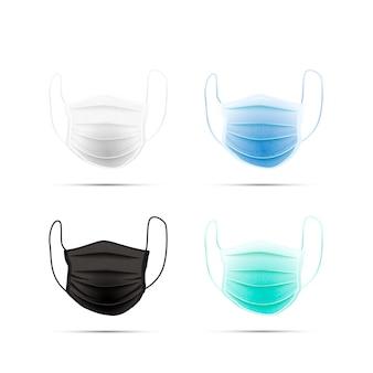 Set di diverse maschere facciali mediche realistiche isolate su bianco