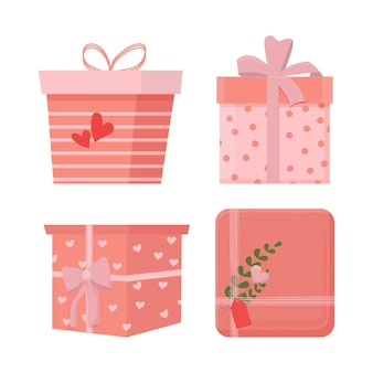 Set di diverse scatole di regali romantici con regali con decorazione a fiocco e ornamento isolato
