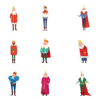 Set di diversi re reali in abiti colorati e corona d'oro