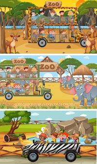 Set di diverse scene orizzontali di safari con personaggi dei cartoni animati di animali e bambini