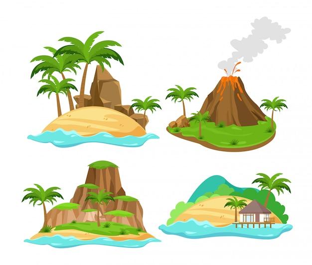 Set di diverse scene di isole tropicali con palme e montagne, vulcano isolato su sfondo bianco in stile cartone animato piatto.