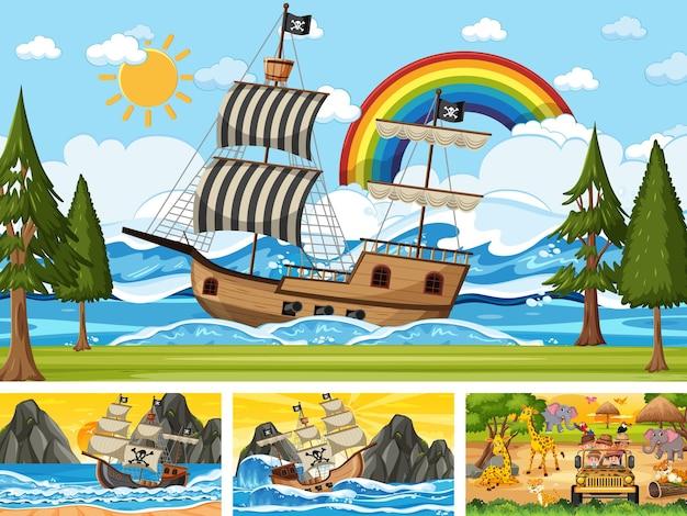 Set di scene diverse con nave pirata in mare e animali nello zoo