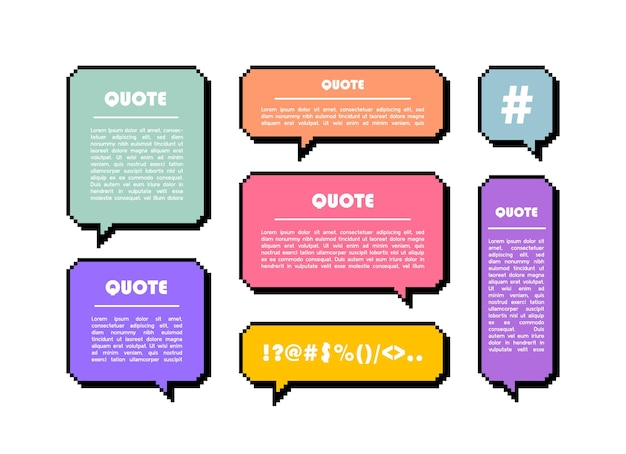 Impostare il fumetto di pixel di forma diversa. finestre di dialogo di testo geometrico. bolla di discorso di casella di citazione colorata.