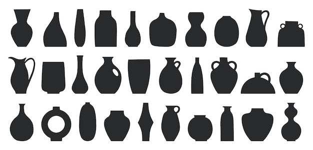 Set di diverse forme di vasi e vasi decorativi illustrazione vettoriale arte contemporanea per la casa