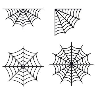 Impostare diverse semplici ragnatele nere silhouette icona isolato su sfondo bianco piatto ragnatela illustrazione vettoriale