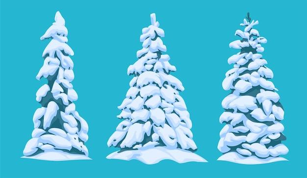 Un insieme di diversi alberi di natale innevati nello stile di un cartone animato per un paesaggio. illustrazione vettoriale.
