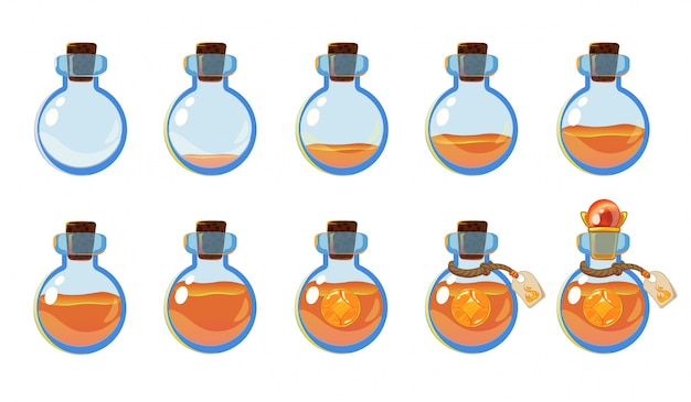Set di diversi stati di bottiglia con elisir arancione e pietre preziose.