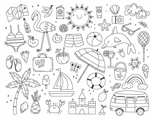 Set di diversi articoli estivi in bianco e nero in stile doodle isolato su bianco