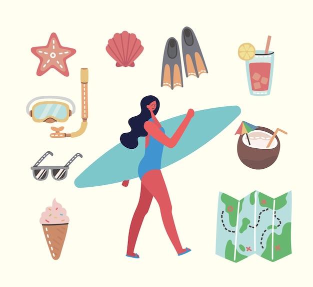 Set di diverse illustrazioni di viaggio estivo in stile piatto