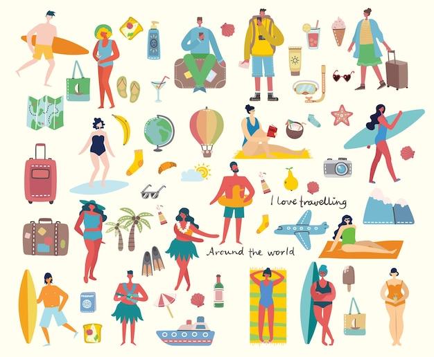 Insieme di diverse persone e icone di viaggio estivo nel porcile piatto