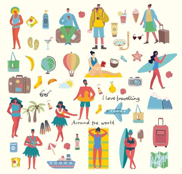 Insieme di diverse persone e icone di viaggio estivo in stile piano