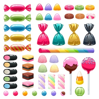 Set di diversi dolci. caramelle assortite. Vettore Premium
