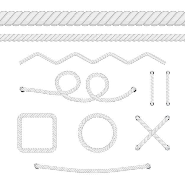 Set di corde di diverso spessore isolato su bianco.