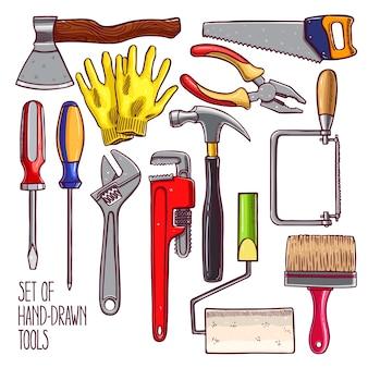 Set di diversi strumenti per la riparazione. illustrazione disegnata a mano