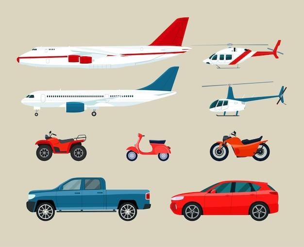 Insieme di diversi veicoli di trasporto. illustrazione