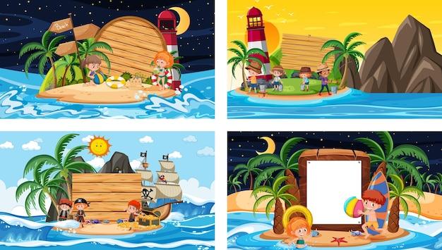 Set di diverse scene di spiaggia tropicale con banner vuoto
