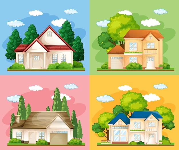 Insieme di diversi tipi di case su sfondo colorato