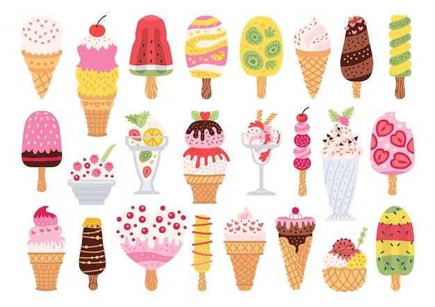 Set di diversi tipi di gelato su un bastone isolato su sfondo bianco