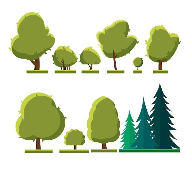 Insieme di diversi tipi di alberi. insieme di alberi e arbusti isolati su sfondo bianco.