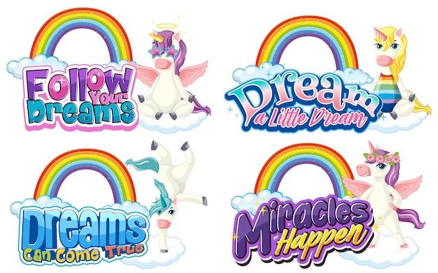 Set di diversi tipi di carattere unicorno con arcobaleni isolati