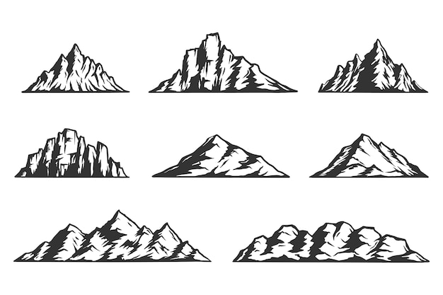 Insieme di diverse montagne monocromatiche vintage.