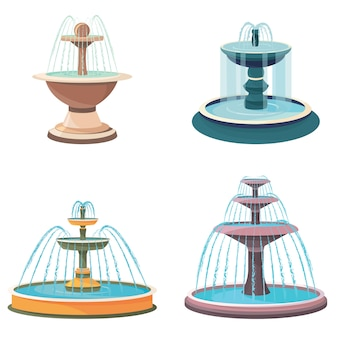 Set di diverse fontane d'acqua