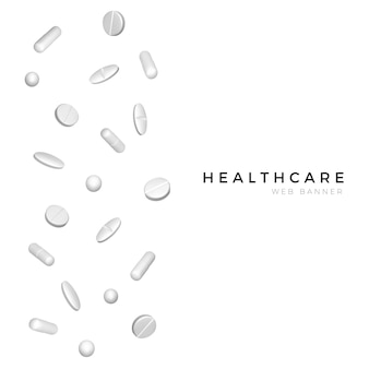 Set di diverse pillole realistiche bianche per poster o banner design