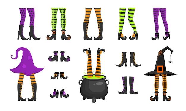 Set di diverse gambe di streghe in calze e stivali che spuntano dal cappello e dal calderone