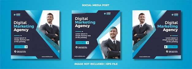 Set di modello di post social media marketing digitale.