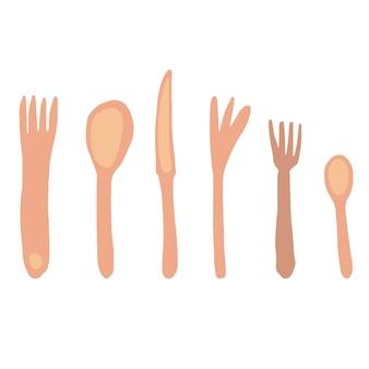 Set di oggetti da tavola isolati su sfondo chiaro. forchetta coltello cucchiaio. stoviglie disegnate a mano libera isolate su sfondo bianco